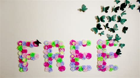 Hiasan Dinding Wall Decor 20x20 diy paper flowers monogram and butterflies wall room decor idea i wear a bow