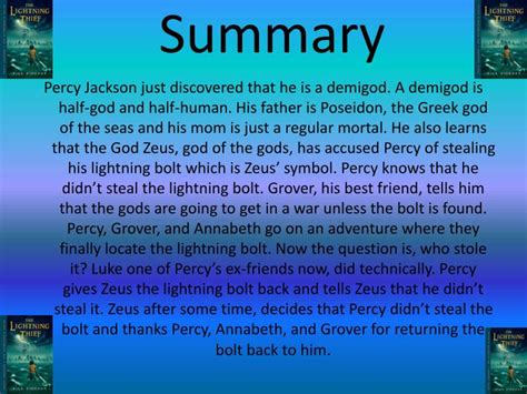 percy jackson the lightning thief book report ppt percy jackson and the olympians the lightning thief