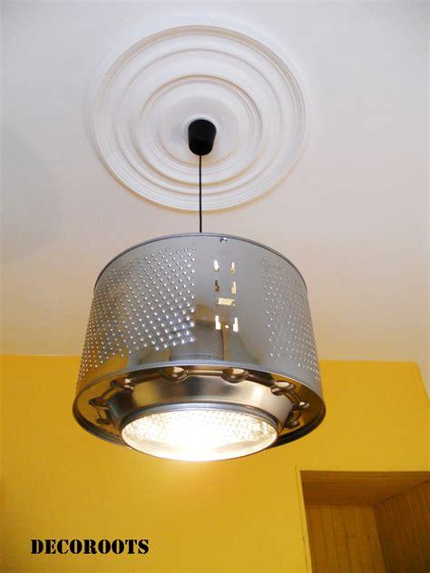 idee decoration creer  lustre suspension  partir dun tambour de machine  laver idees