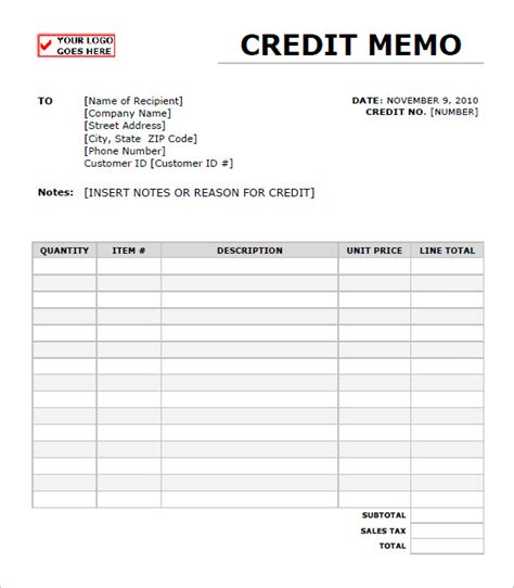 Note De Credit Template Credit Memo Templates 12 Free Word Excel Pdf Documents Free Premium Templates