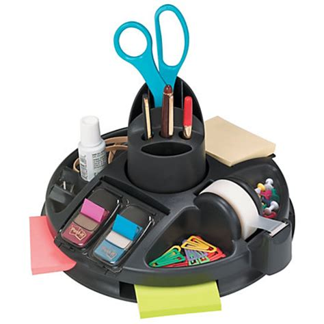 rotary desk organizer post it rotary desktop organizer black by office depot
