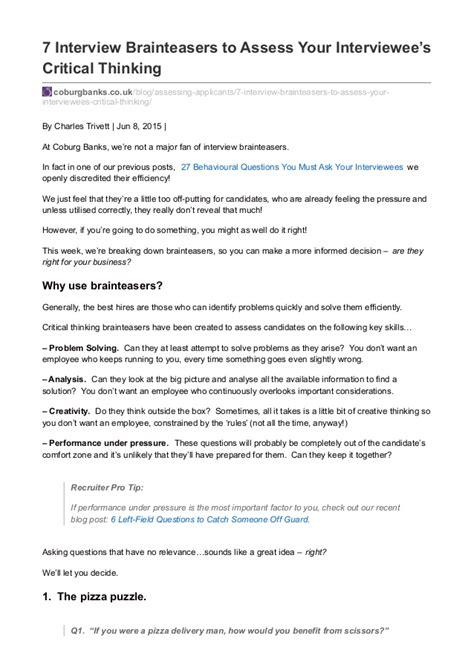 Brain Teaser Mba Interviews by Critical Thinking Brain Teaser Worksheets Breadandhearth