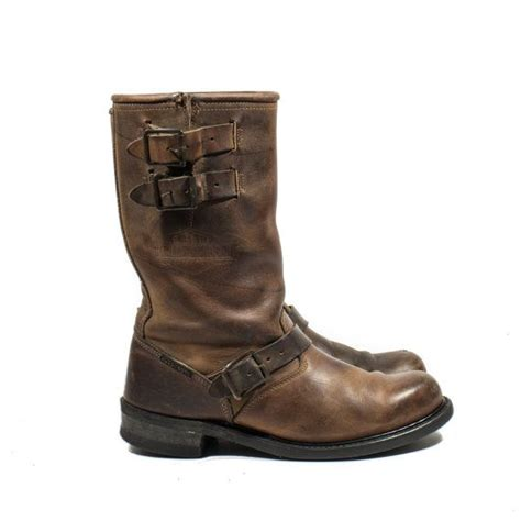 mens buckle biker boots vintage harley davidson motorcycle boots brown leather