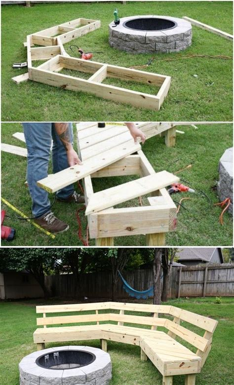 curved fire pit bench with back the 25 best rustic bench ideas on pinterest rustic wood