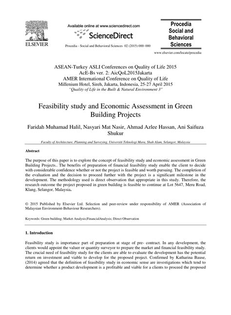(PDF) Feasibility study and Economic Assessment in Green