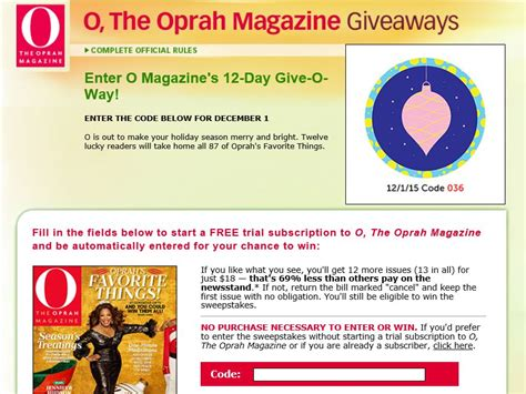 The 12 Day Giveaway Oprah - oprah magazine 12 day give o way sweepstakes sweepstakes fanatics
