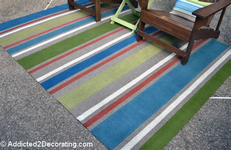 How To Paint An Outdoor Rug Outdoor Rug With Painted Stripes