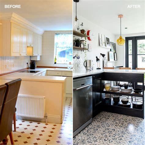 narrow space stylish kitchen dark blue