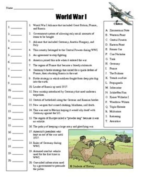 Wwi Worksheets by World War 1 Worksheets Abitlikethis