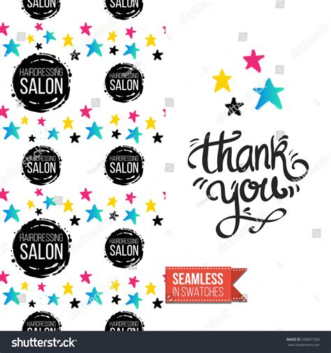 Salon Thank You Card Template by Greeting Card Promotion Salon Seamless Stock Vector