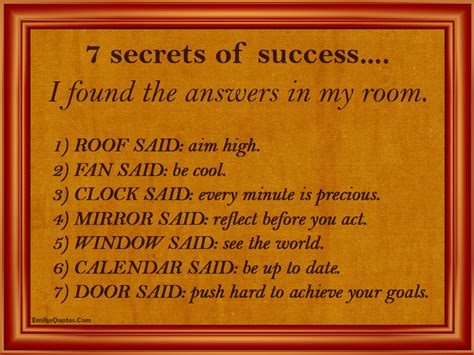 7 Secrets Of Successful by 7 Secrets Of Success I Found The Answers In My Room