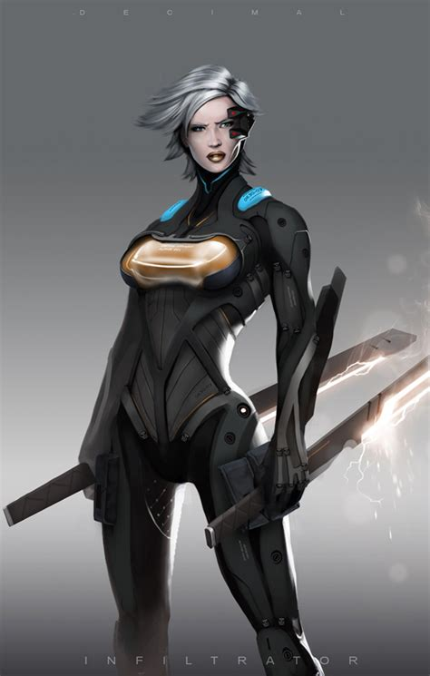 film female robot decimal concept art cyberpunk futuristic and sci fi