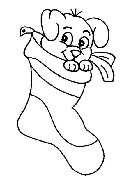 cute stocking coloring page a cute little puppy on christmas stocking coloring page