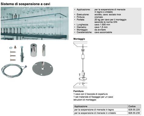 fissaggio mensole cavi acciaio per mensole sospese