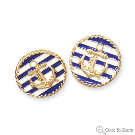 blue and white gold tone anchor design fashion earrings