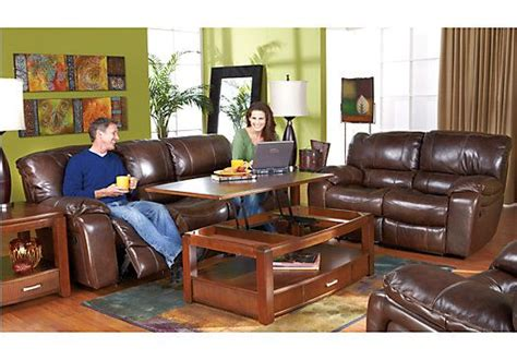 shop for a sanderson walnut leather 3 pc livingroom at