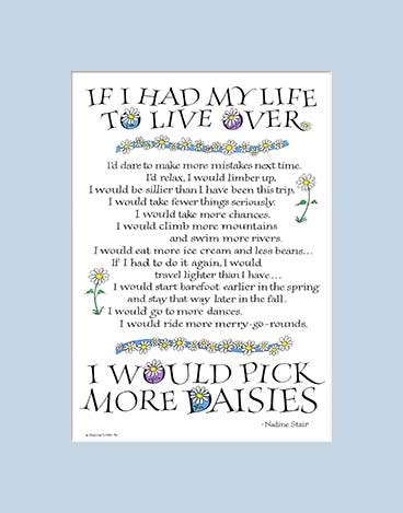 if i had my life to live over feelgooder if i had my life to live over pick more daisies art print