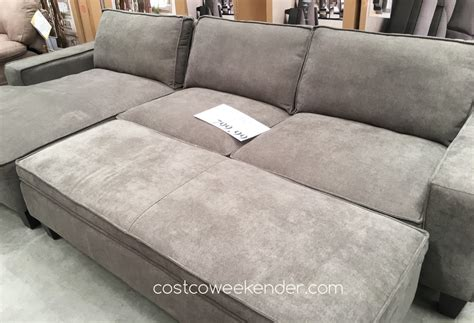 costco sleeper sofa with chaise chaise sofa with storage ottoman costco weekender
