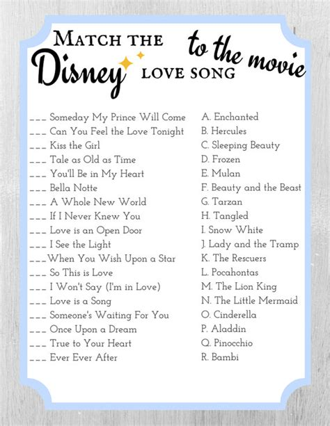 Wedding Shower Song List by Match The Disney Song To The Bridal Shower