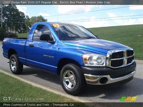2007 2008 dodge ram 1500 electric blue pearl 2007 dodge ram 1500 sxt regular cab medium slate gray interior