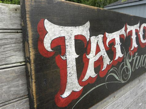 tattoo hand painted signs tattoo sign original hand madepaintedwooden faux
