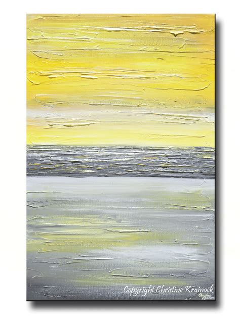 paint colors yellow and grey giclee print abstract yellow grey painting vertical