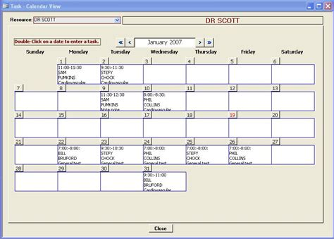 ms access scheduler template main window ms access