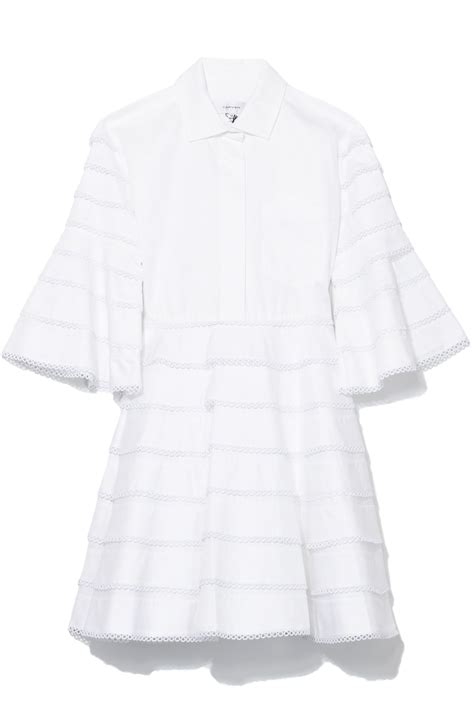 Dress Bell Slevee Stripe bell sleeve dress in blanc optique stripe