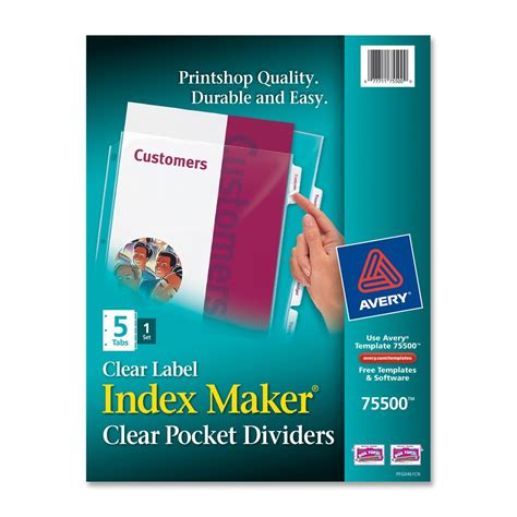 Avery Index Maker 5 Tab Template by Avery Index Maker 5 Tab Clear Pocket View Dividers