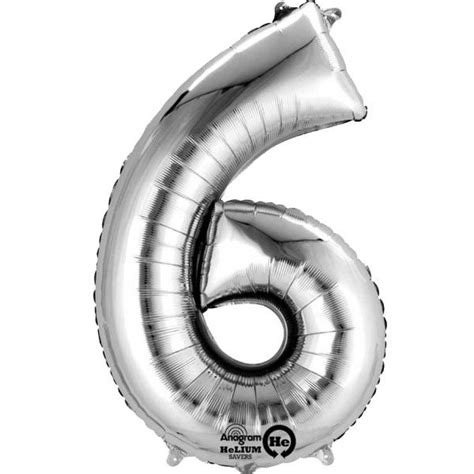 Foil Silver Rlm 06 silver number 6 16 quot foil balloon supplies