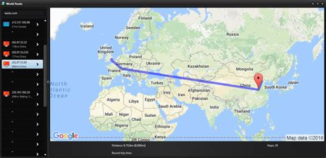 softperfects world route   simple visual traceroute