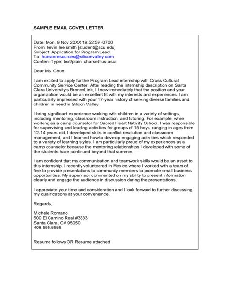 sle email cover letter free download