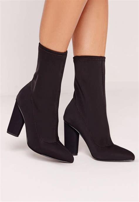 Heeled Pointed Boots pointed toe neoprene heeled ankle boots black missguided