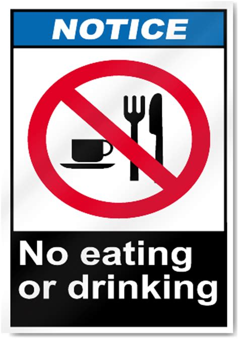 eating and drinking area safety signs signstoyou com no eating or drinking notice signs signstoyou com