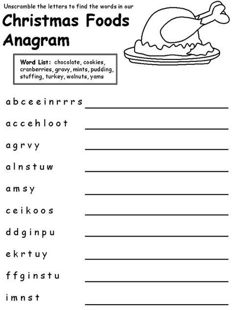 printable christmas anagrams christmas food anagram easy puzzle christmas pinterest