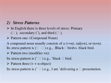 stress pattern rules systematic competence of english language