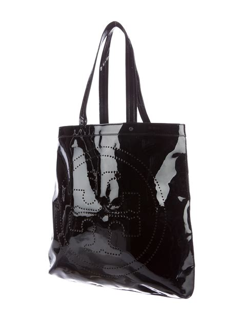 Ada Patent Leather Tote by Burch Perforated Patent Leather Tote Handbags
