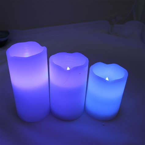 Color Changing Led Candle With Remote Set Of 3 Pcs 2 lots x 3pcs wax battery operated remote color