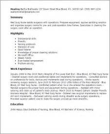 Rn Description Resume by Professional Med Surg Templates To Showcase Your Talent Myperfectresume