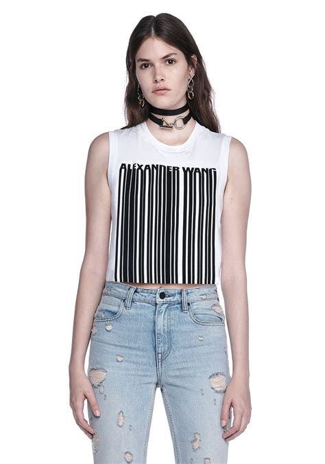 Lq 12 Blouse wang exclusive crewneck crop top with bonded barcode in silica onyx modesens