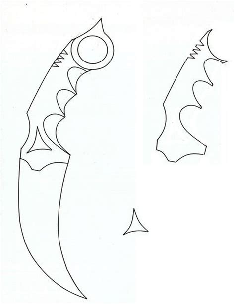 printable knife templates wooden karambit outline pictures outlines and template