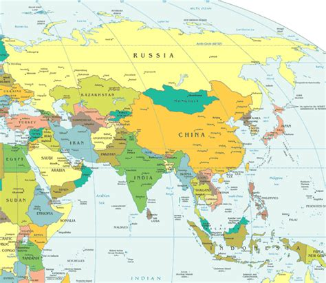 Asia On World Map by Gallery For Gt Asia World Map