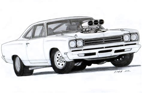 cars drawings 1969 plymouth roadrunner drawing by vertualissimo