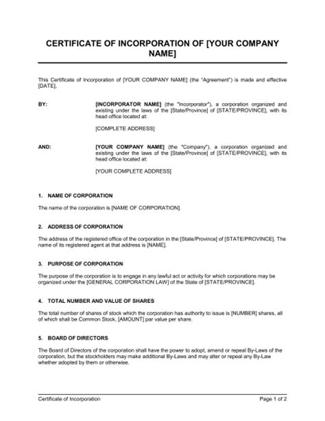 certificate of organization template certificate of incorporation template sle form