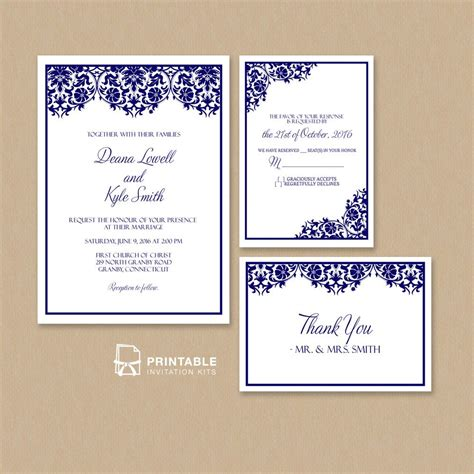 free printable wedding invitations pdf free pdf damask frame wedding invitation templates set