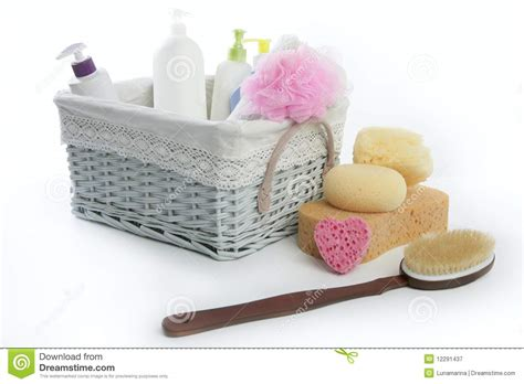 bathroom toiletry baskets bath toiletries basket with shower gel royalty free stock photography image 12291437