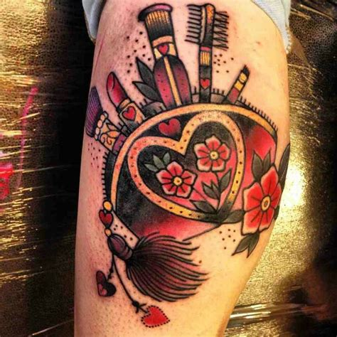 tattoo makeup history collection of 25 makeup brush and bottle tattoos onarm