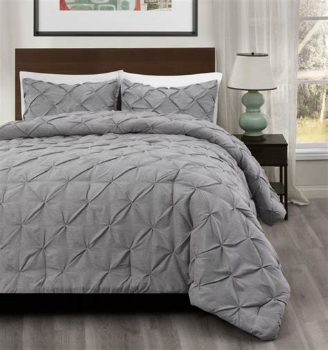 Bed Cover California King Motif Eolia master 3pcs pinch pleat comforter set size king cal king color light grey crafting