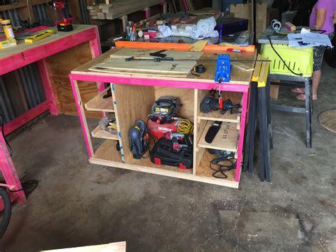 ana white workbench miter   storage space diy