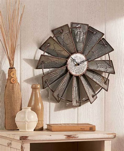 metal home decor metal windmill wall clock wall decor home country rustic